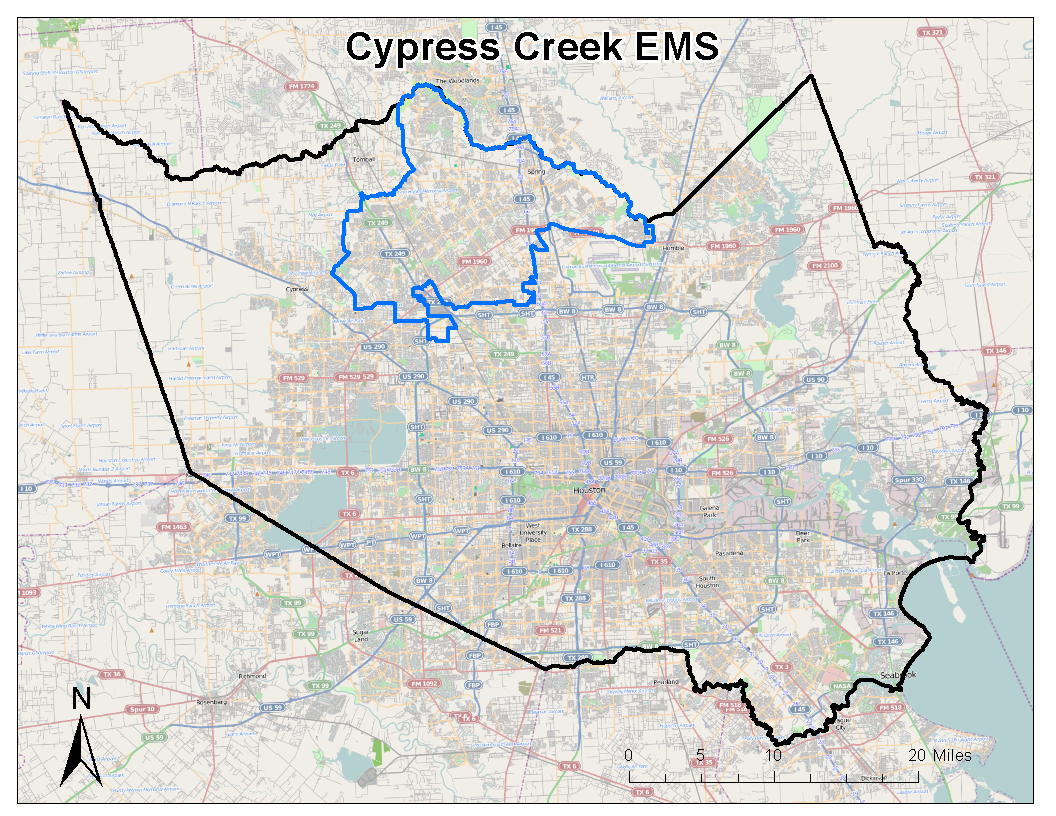 Service Area The Official Cypress Creek EMS Webpage - Map houston harris county